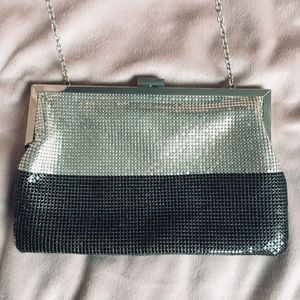 Black and silver chain link evening clutch